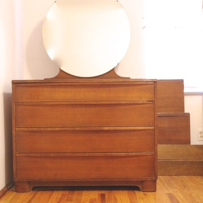 Circa 1930s art deco dresser with round mirror