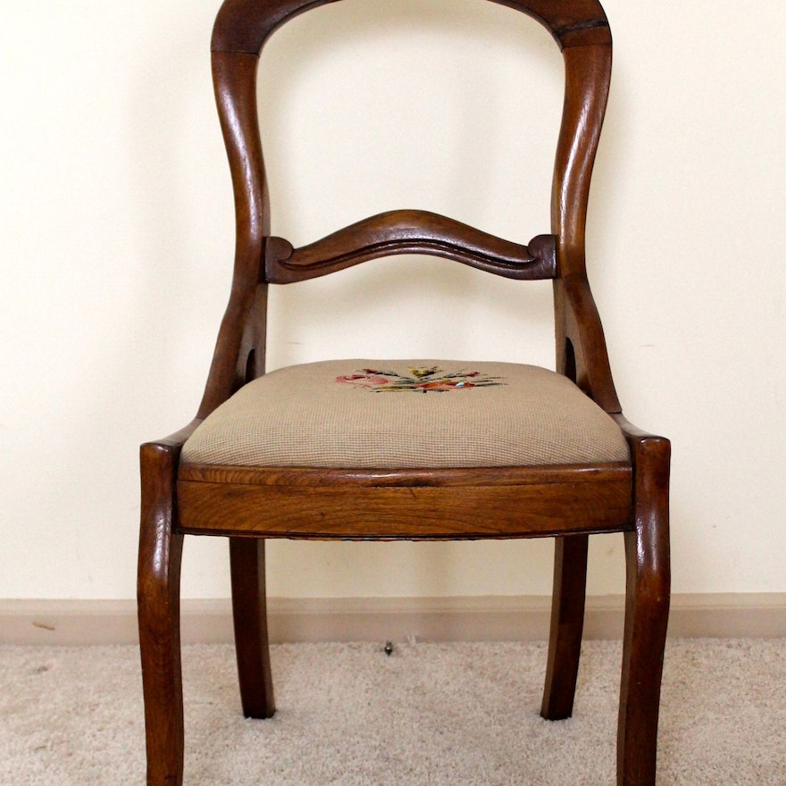 Antique Carved Rosewood Chair with Needlepoint Seat ... - Antique Carved Rosewood Chair With Needlepoint Seat : EBTH