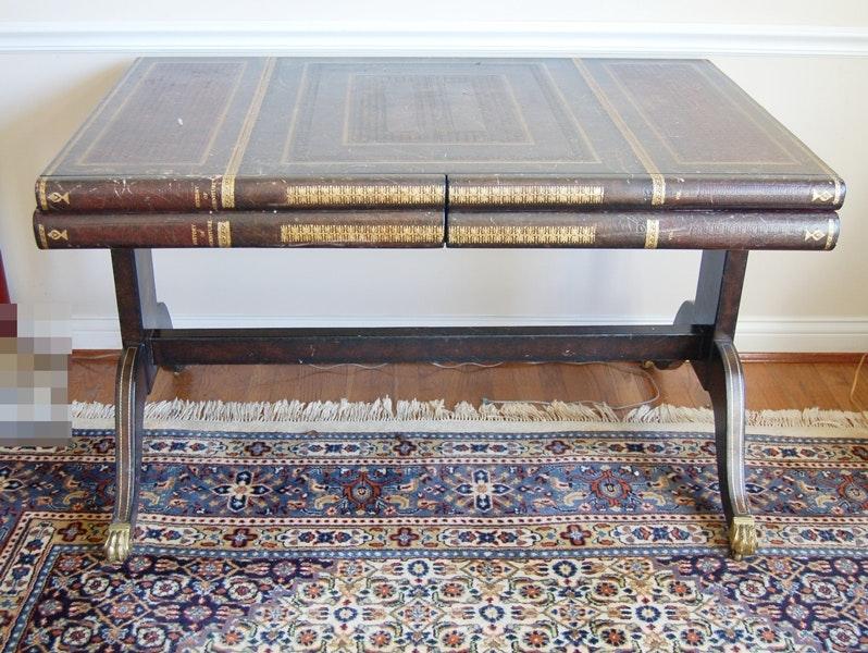 maitland-smith leather bound book table/ desk : ebth