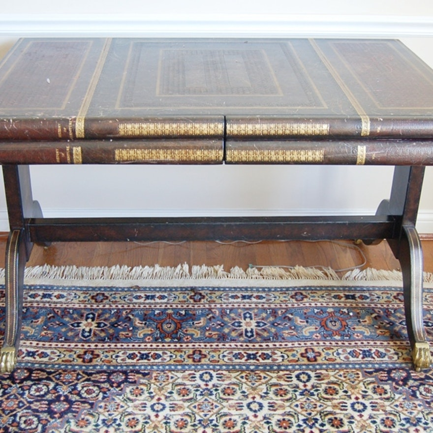 Maitland Smith Leather Bound Book Table Desk Ebth