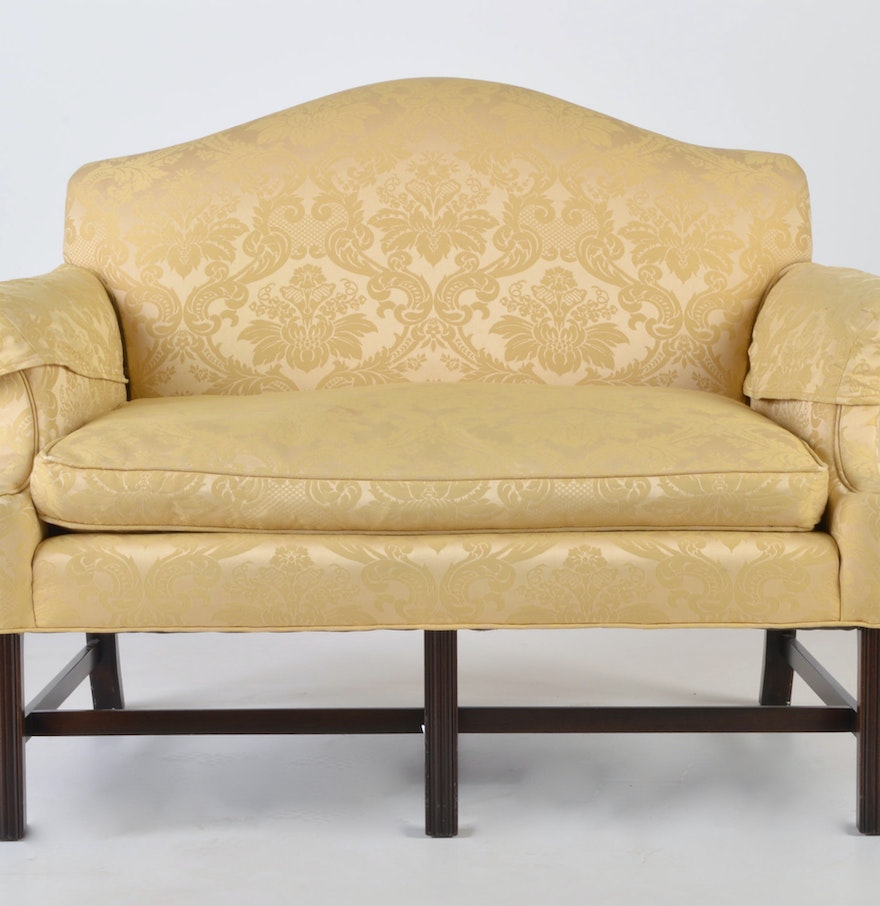 Mahogany Chippendale Wingback Upholstered Loveseat Ebth