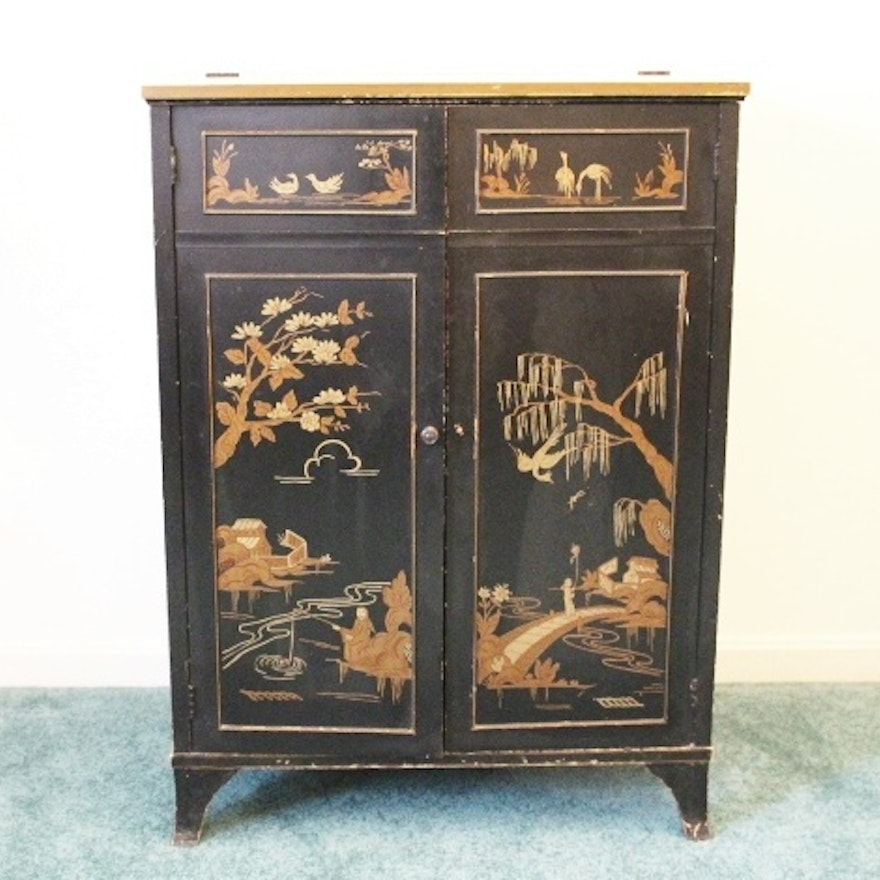 Art Deco Vintage Asian Hand Painted Wood Liquor Cabinet ... - Art Deco Vintage Asian Hand Painted Wood Liquor Cabinet : EBTH