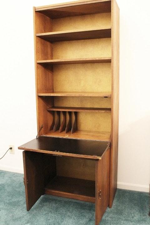 Oak Bookcase With Doors: Oak Tall Bookcase/Secretary With Doors : EBTH