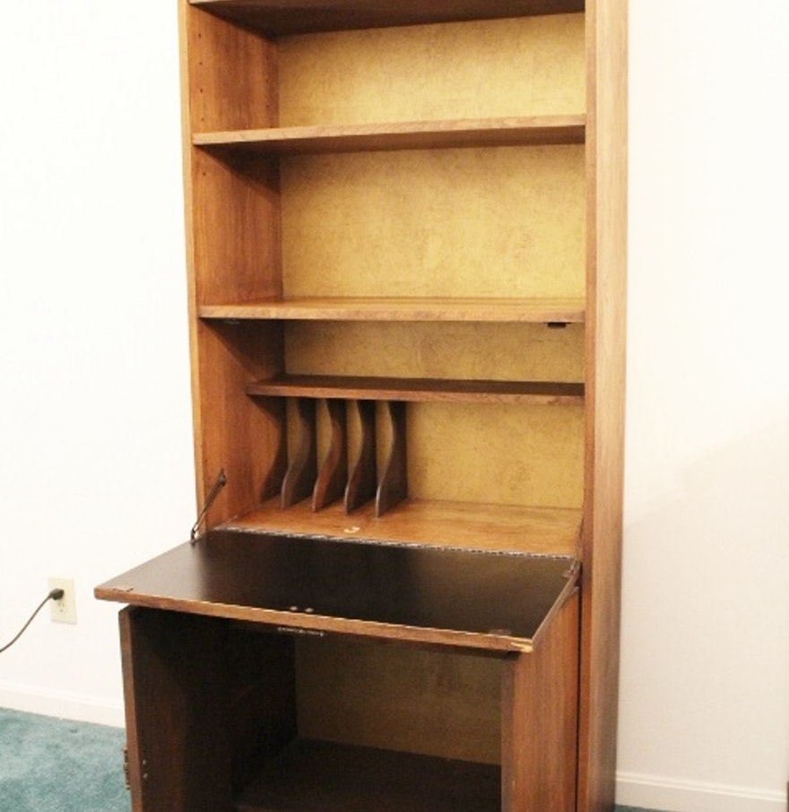 oak tall bookcase secretary with doors ebth. Black Bedroom Furniture Sets. Home Design Ideas