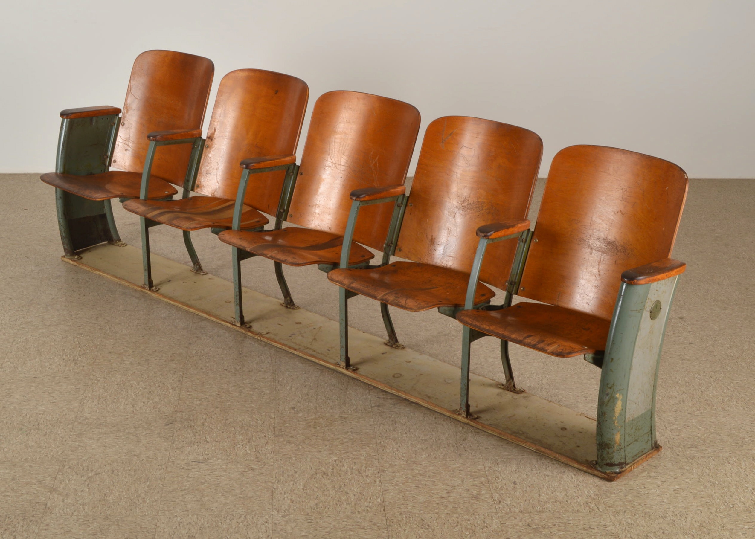 Retro Brunswick Balke Bowling Alley Connected Chairs ...