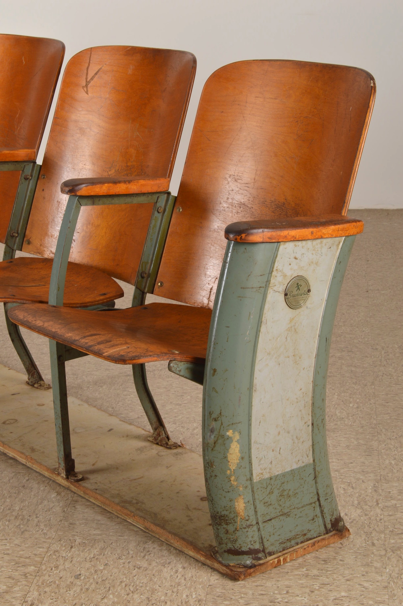 Retro Brunswick Balke Bowling Alley Connected Chairs Ebth