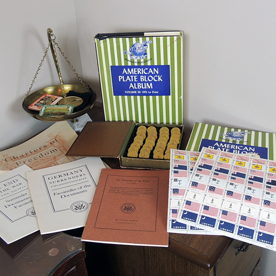 Plate Block Stamp Albums, Presidents Coins and Historical Books