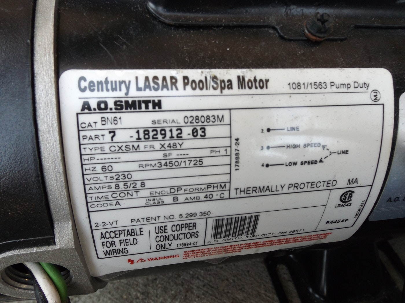 Pool Spa Century Lasar Pool Spa Motor