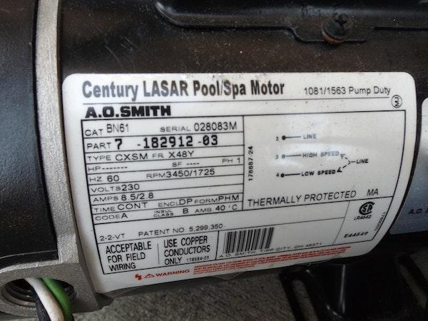 A century lasar pool spa motor and leisure bay spa blower for Century pool and spa motor