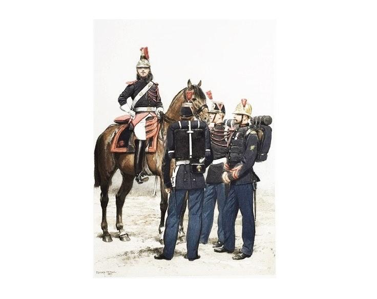 """Sixteen Original Folios """"Types et Uniformes L'Armee Francaise"""", E. Detaille 1885"""