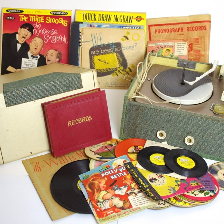 Vintage Children's Records with RCA Portable Record Player