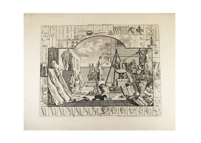 "A Pair of William Hogarth Engravings ""Analysis of Beauty"", 1822 Publication"