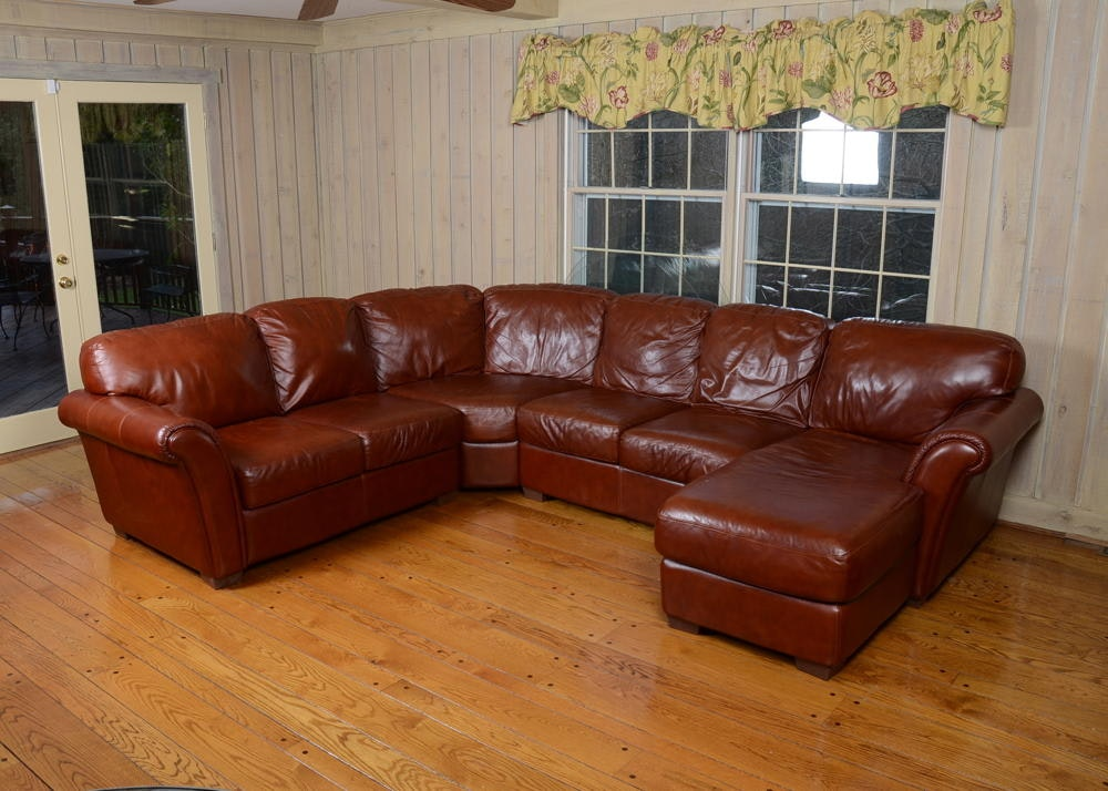 Chateau D ax Brown Leather Sectional Sofa EBTH