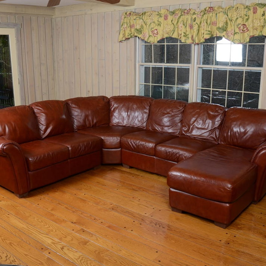 Phenomenal Chateau Dax Brown Leather Sectional Sofa Caraccident5 Cool Chair Designs And Ideas Caraccident5Info