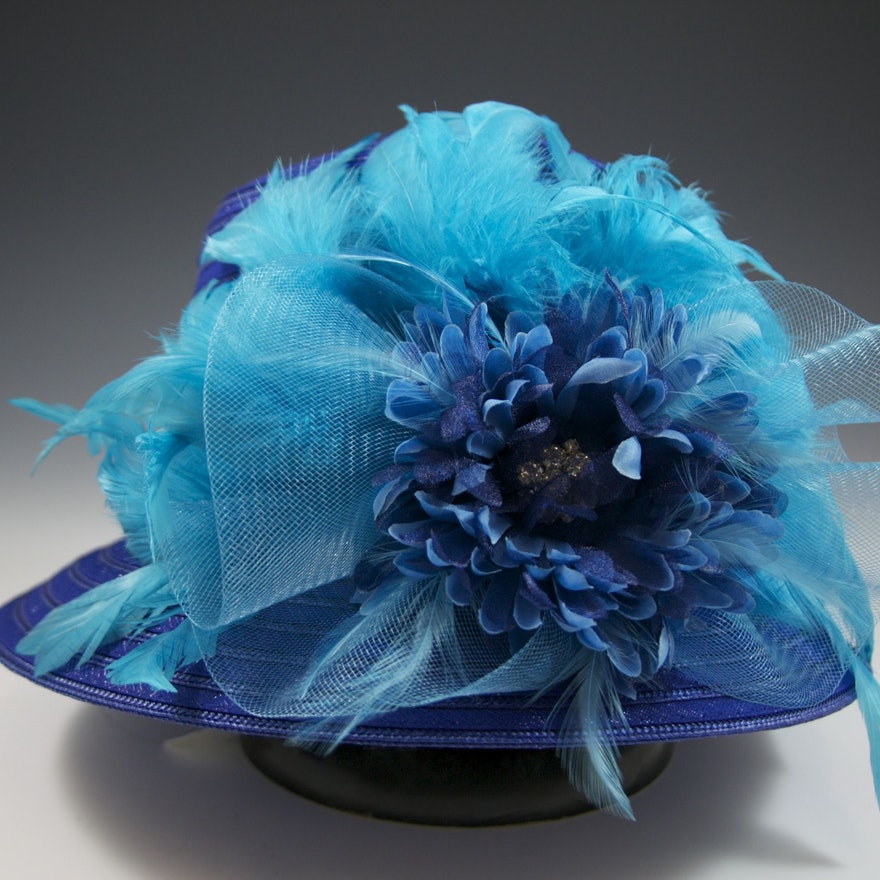 4bc6fdccf82 Vibrant Blue Turquoise Embellished Hat   EBTH