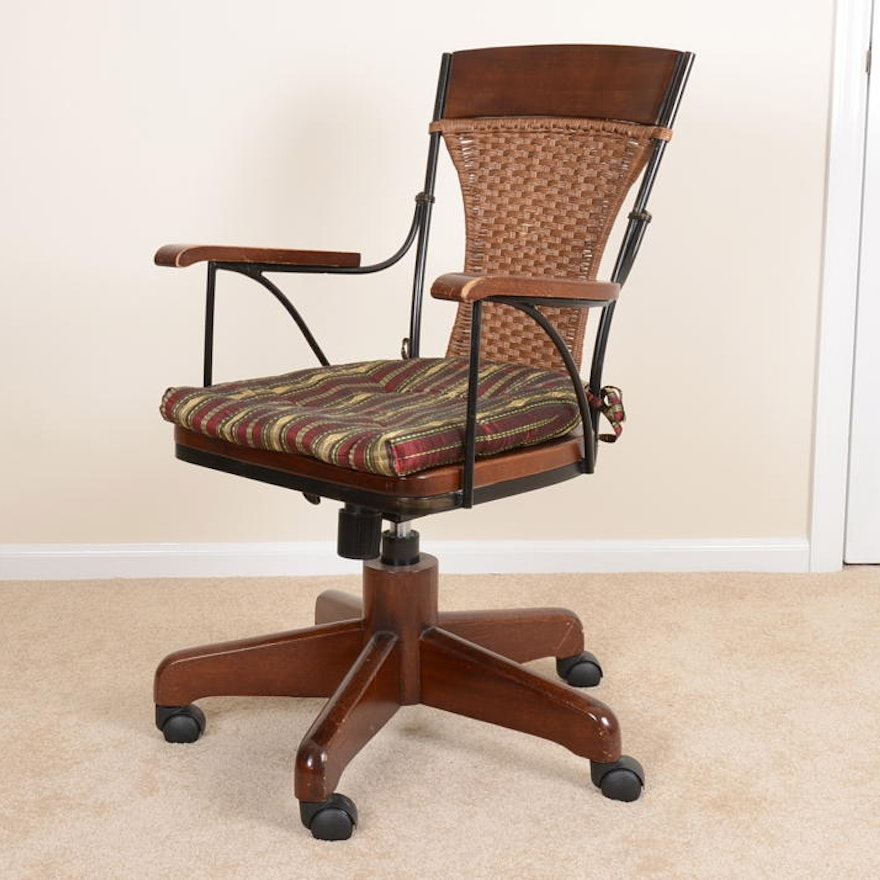 Pier One Wood And Wicker Office Chair