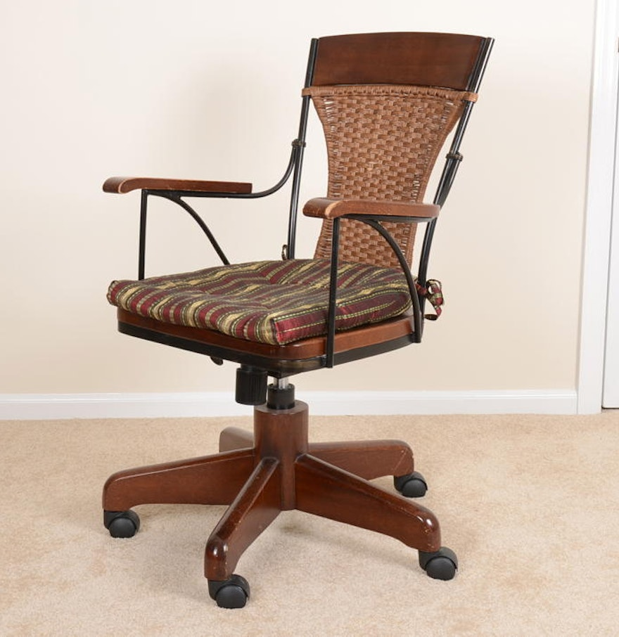 Pier One Wood And Wicker Office Chair : EBTH
