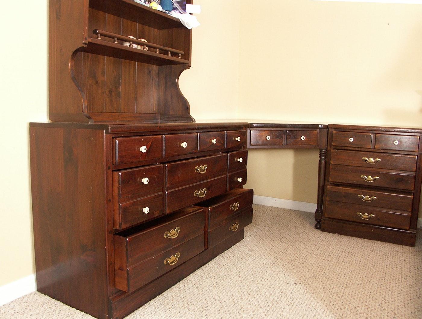 Vintage Ethan Allen Desk Dresser Nightstand Hutch Ebth