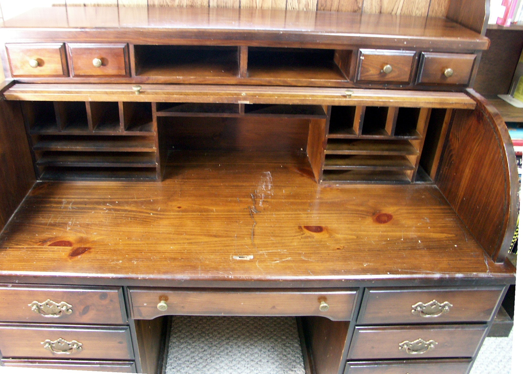 Mid Century Solid Pine Roll Top Desk Ebth