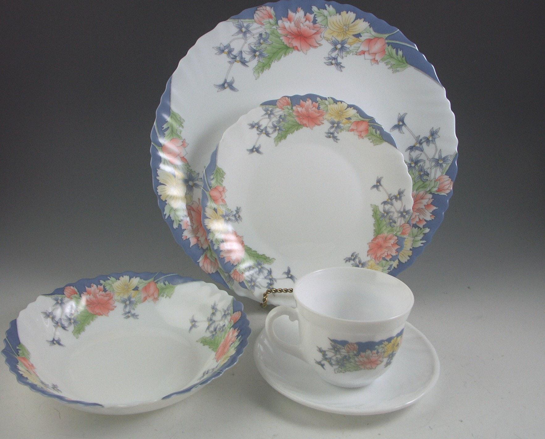 70 Piece Lot of Vintage Arcopal France Glass Dinnerware ... & 70 Piece Lot of Vintage Arcopal France Glass Dinnerware : EBTH