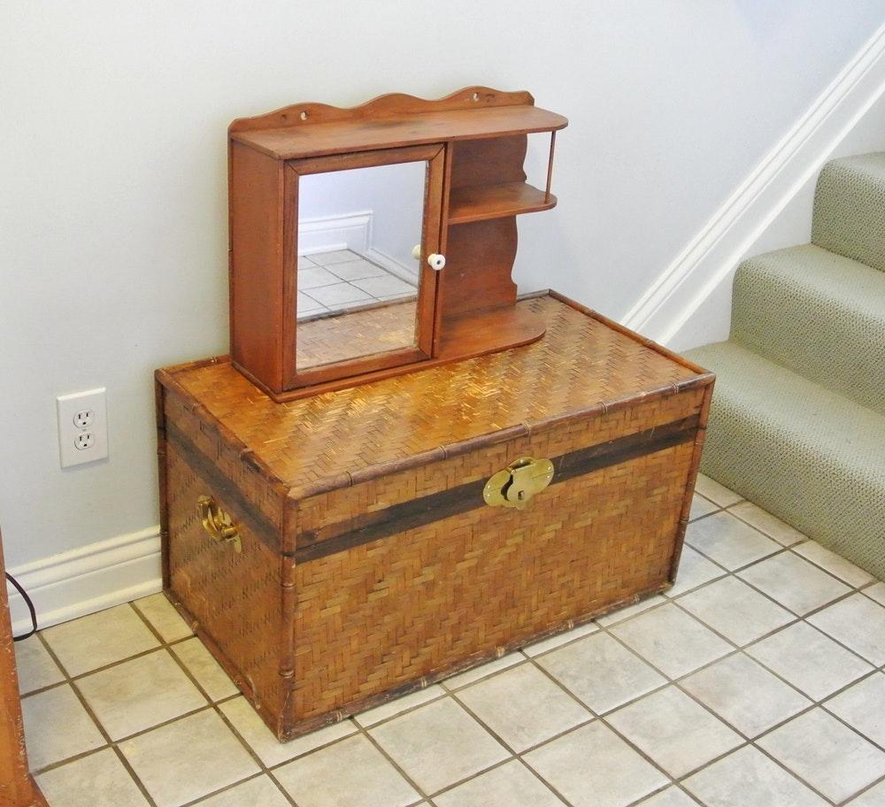 Antique Medicine Cabinet Hardware trunk with brass hardware and vintage medicine cabinet : ebth