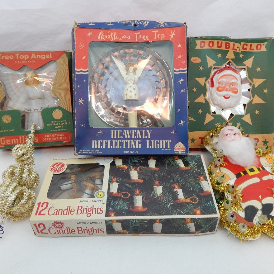 vintage christmas tree toppers and lights