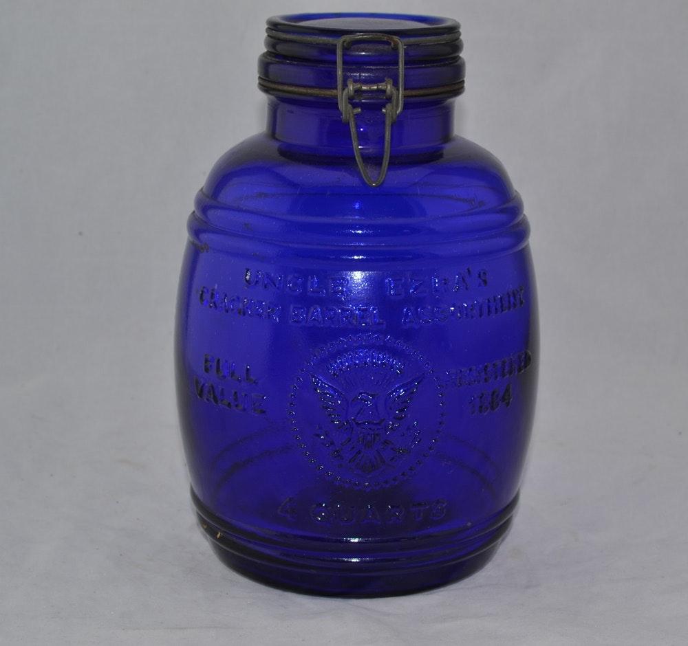 1966 cobalt blue glass cracker barrel cracker jar ebth