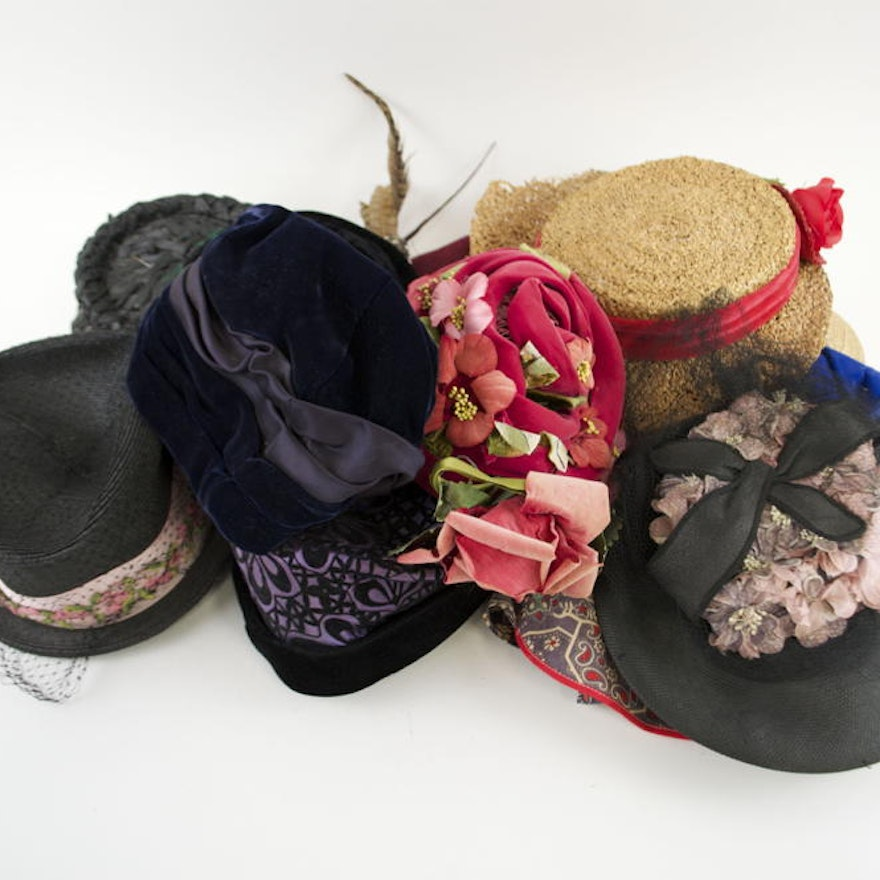 9fc3ce7aa2327 Assortment of 20 Hats and Three Hat Boxes (c. 1920s)   EBTH