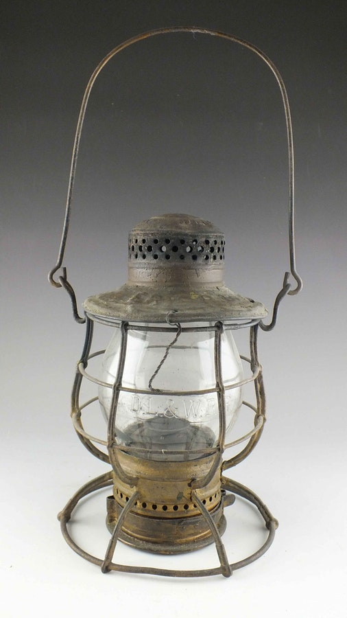 antique railroad oil lantern from c t ham ebth. Black Bedroom Furniture Sets. Home Design Ideas