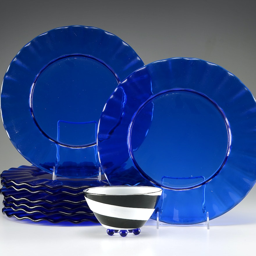 Cobalt Blue Glass Plate Chargers and Decorative Bowl : EBTH