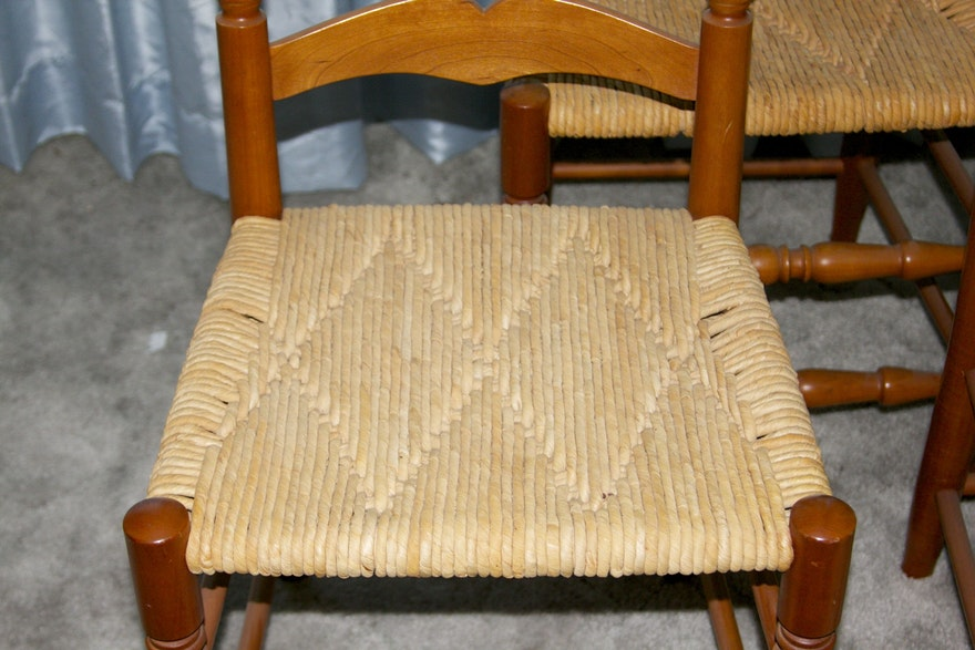 Natural Cherry Finish Ladder Back Chairs With Woven Rush