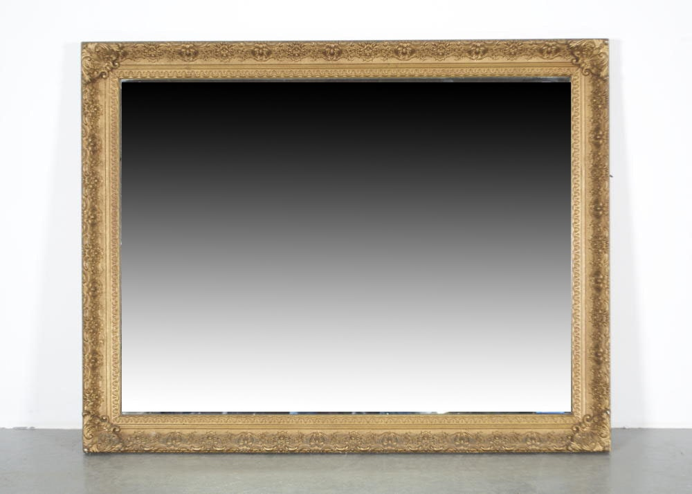 Large Fashion Plate Mirror With Gilt Frame Ebth