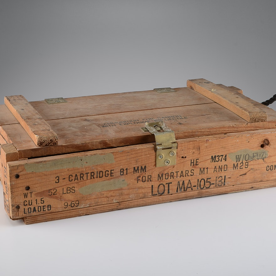 Vintage Wooden Ammo Crate For 81mm Cannon
