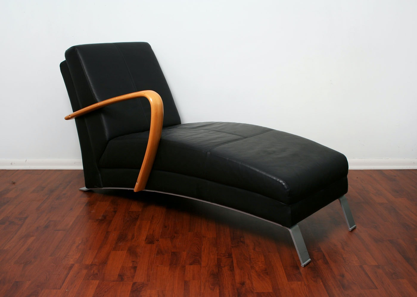 contemporary leather chaise lounge ebth