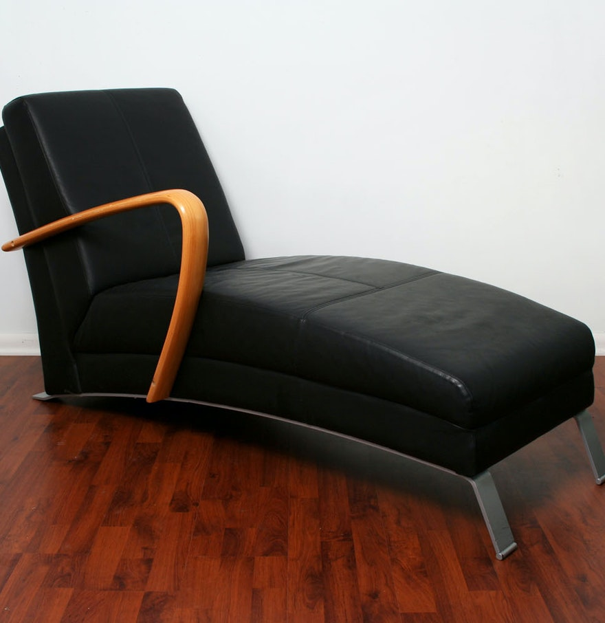 Contemporary leather chaise lounge ebth for Chaise lounge contemporary