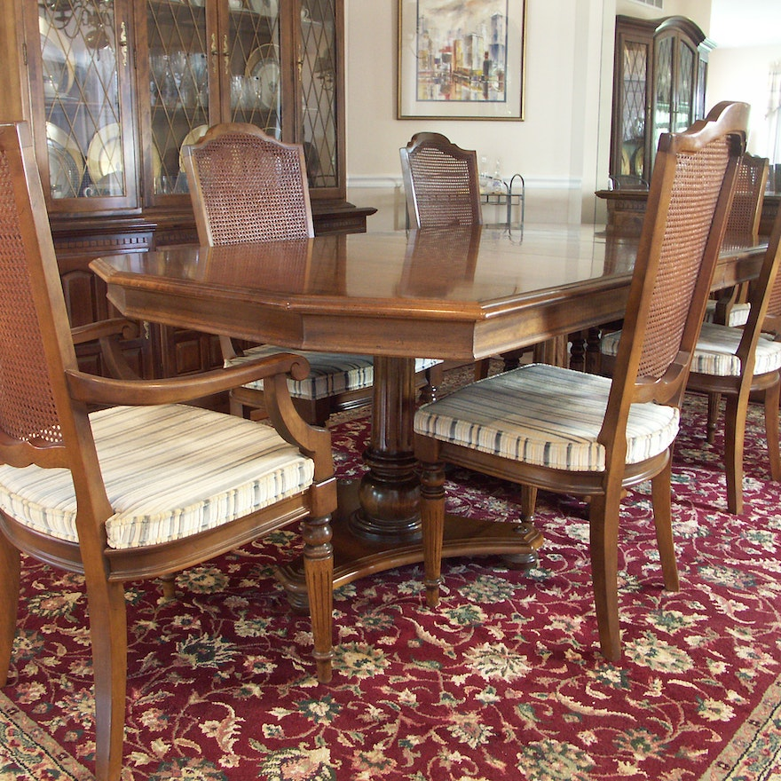 Ethan Allen Tuscan Coffee Table: Ethan Allen Dining Table And Six Chairs