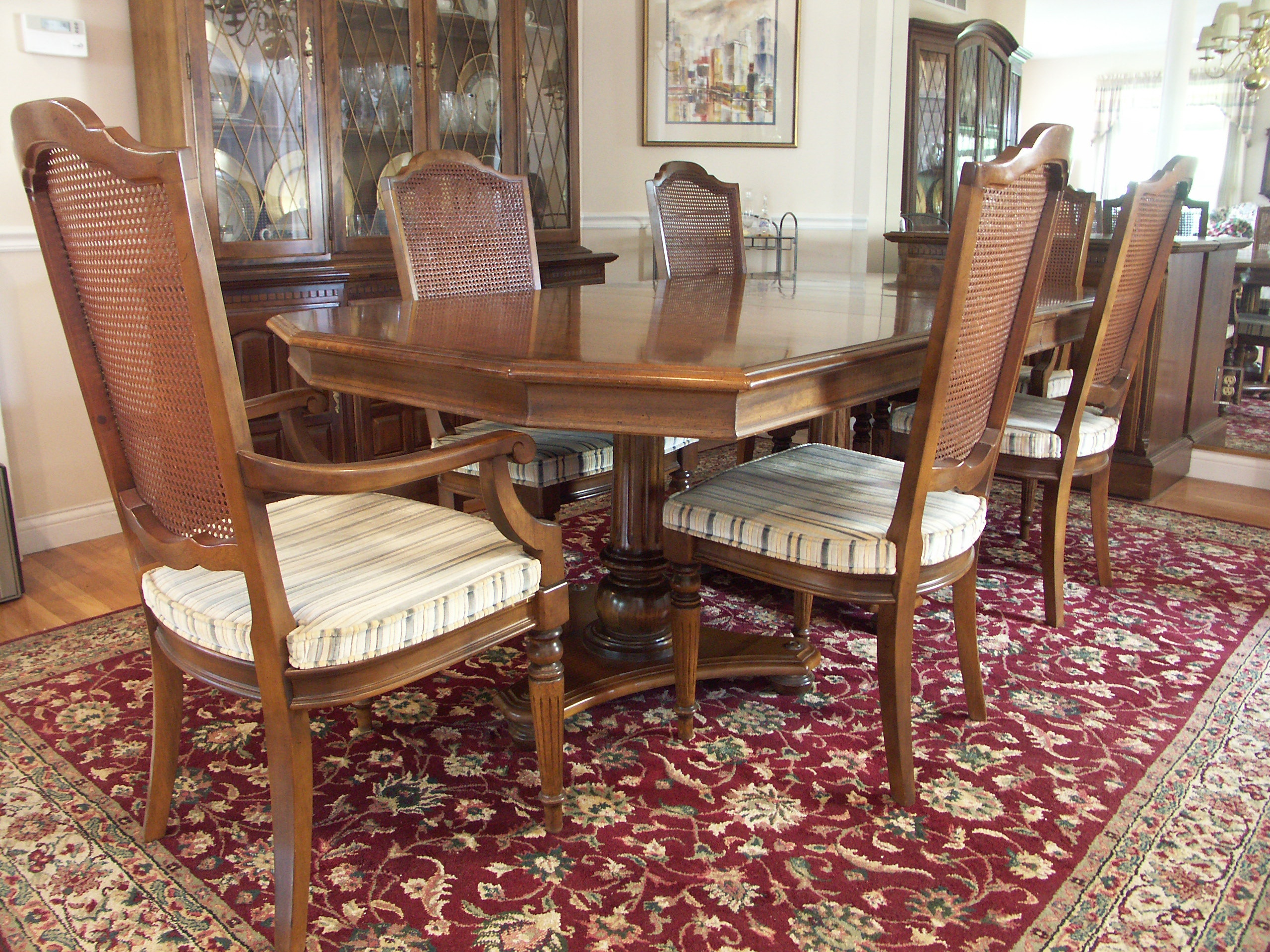 ethan allen dining table and six chairs
