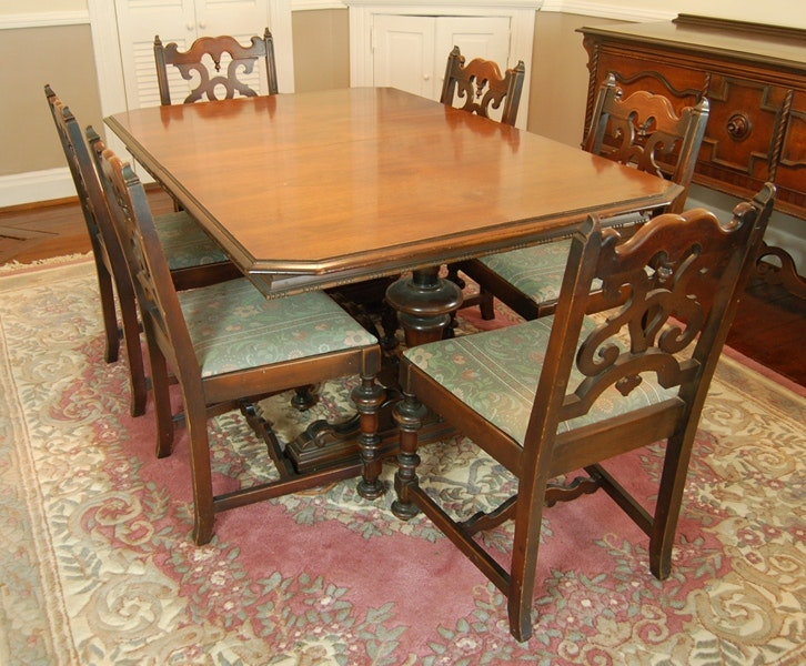 vintage jacobean revival dining table and chairs : ebth
