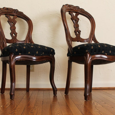 Two Rococo Revival Style Balloon Back Side Chairs - Online Furniture Auctions Vintage Furniture Auction Antique