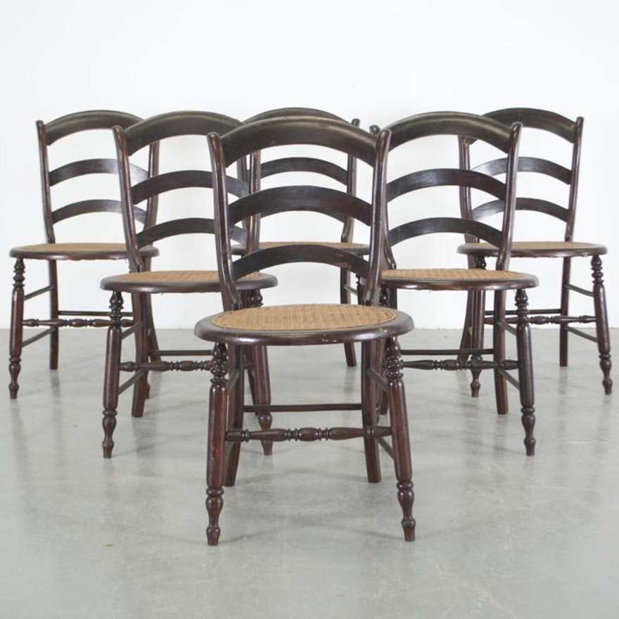 Set Of Six Mahogany Cane Bottom Ladder Back Dining Chairs