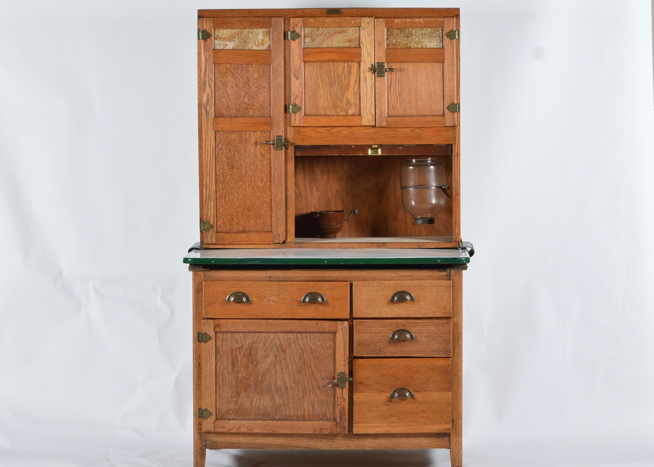 Lovely Hoosier Style Oak Wilson Kitchen Cabinet ...