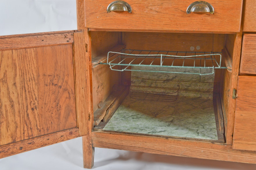 Hoosier Style Oak Wilson Kitchen Cabinet Ebth