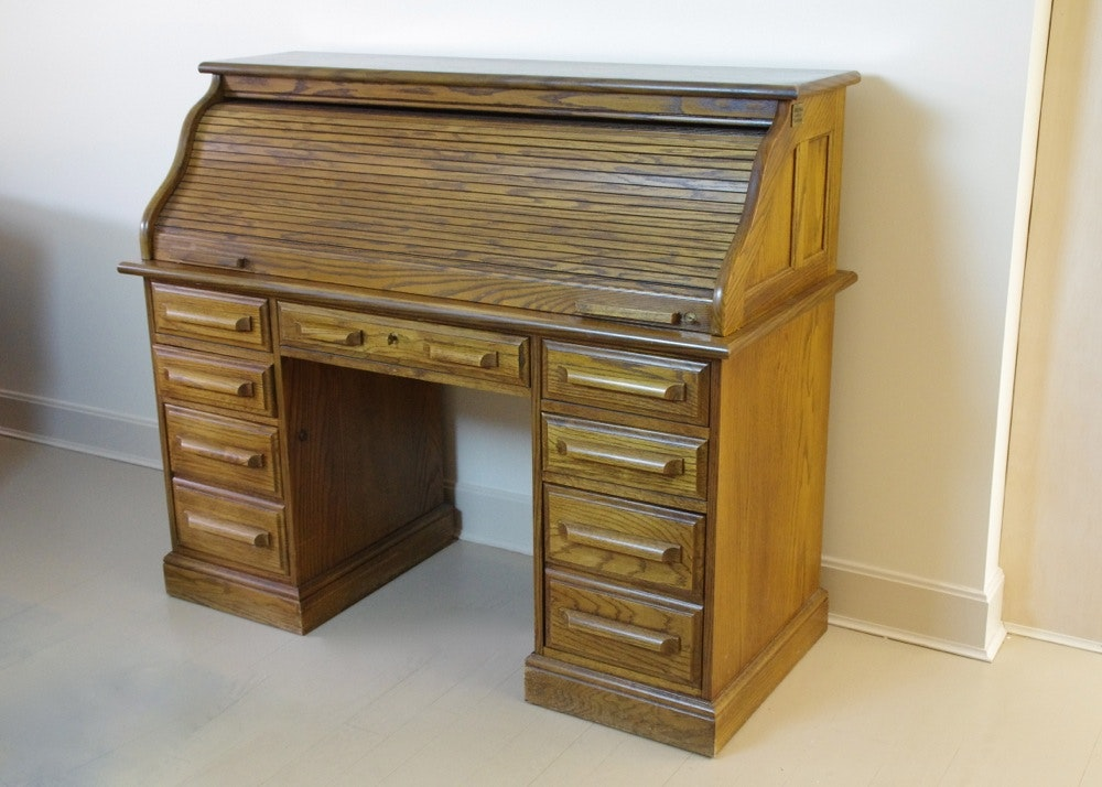 Beautiful Reproduction Solid Oak Roll Top Desk Ebth