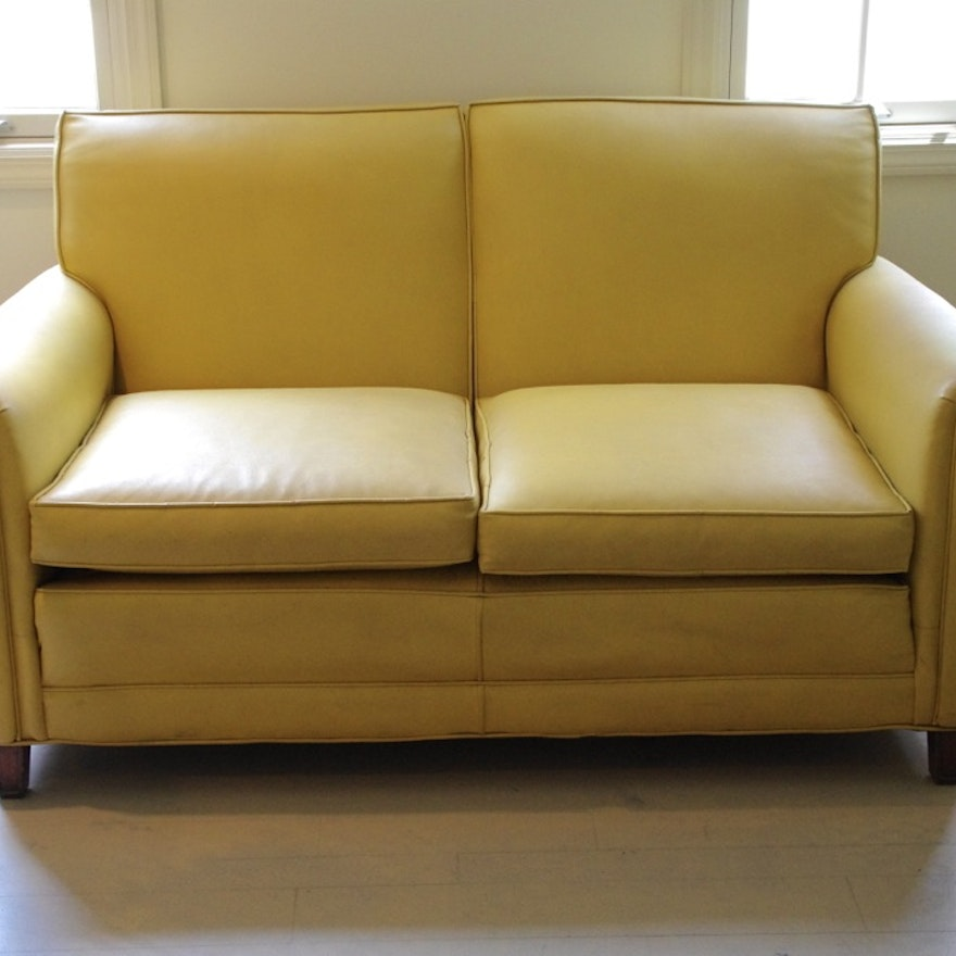 Excellent Buttercup Yellow Faux Leather Sofa Gmtry Best Dining Table And Chair Ideas Images Gmtryco
