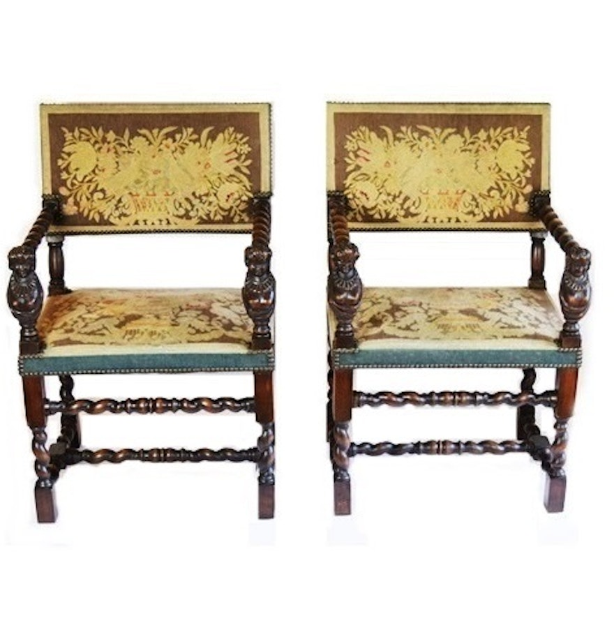 Antique furniture chair - A Pair Of Jacobean Style Barley Twist Chairs With Carved Maidens