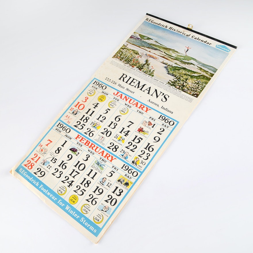 1960 Calendar.1960 Full Sports Calendar By B F Goodrich