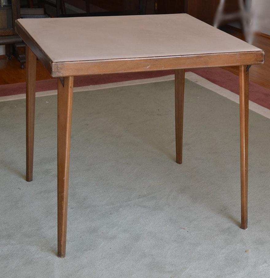 vintage folding card table with wood legs ebth. Black Bedroom Furniture Sets. Home Design Ideas