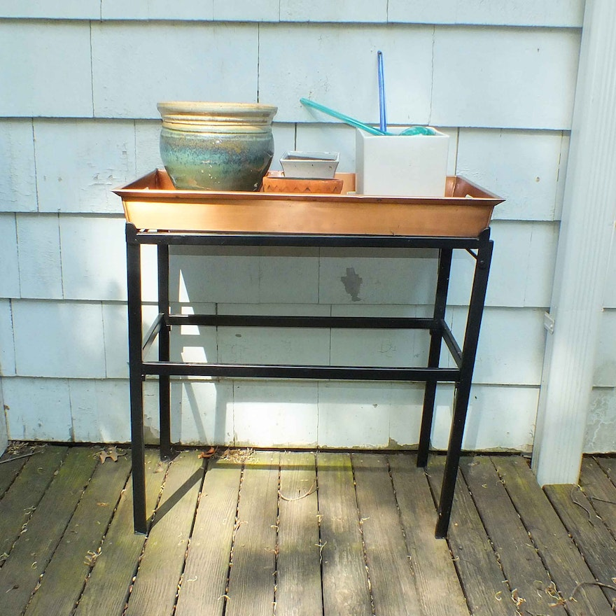 Smith And Hawkins Copper Clad And Metal Plant Stand Ebth