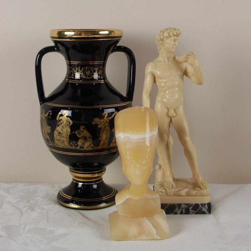 Statue Of David Grecian Vase Small Alabaster Egyptian Bust Ebth