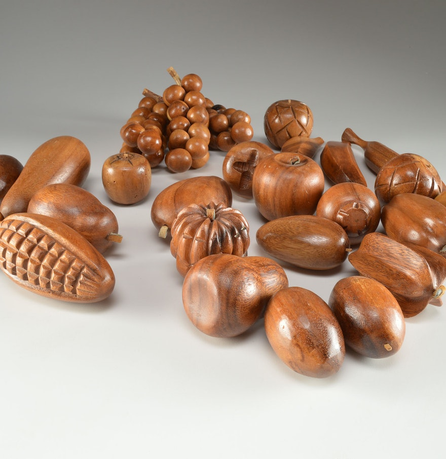 Carved wooden fruits and vegetables ebth